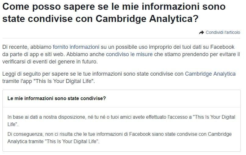 Come posso sapere se le mie informazioni sono state condivise con Cambridge Analytica?